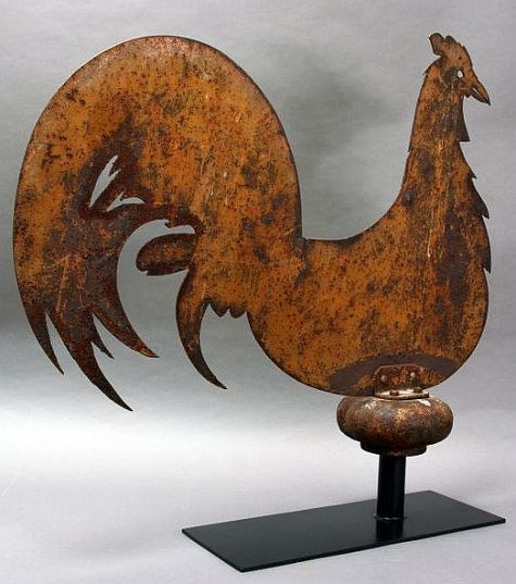 Antique Rooster Weathervane: Antique Rooster Weathervane, New York State, 19th Century