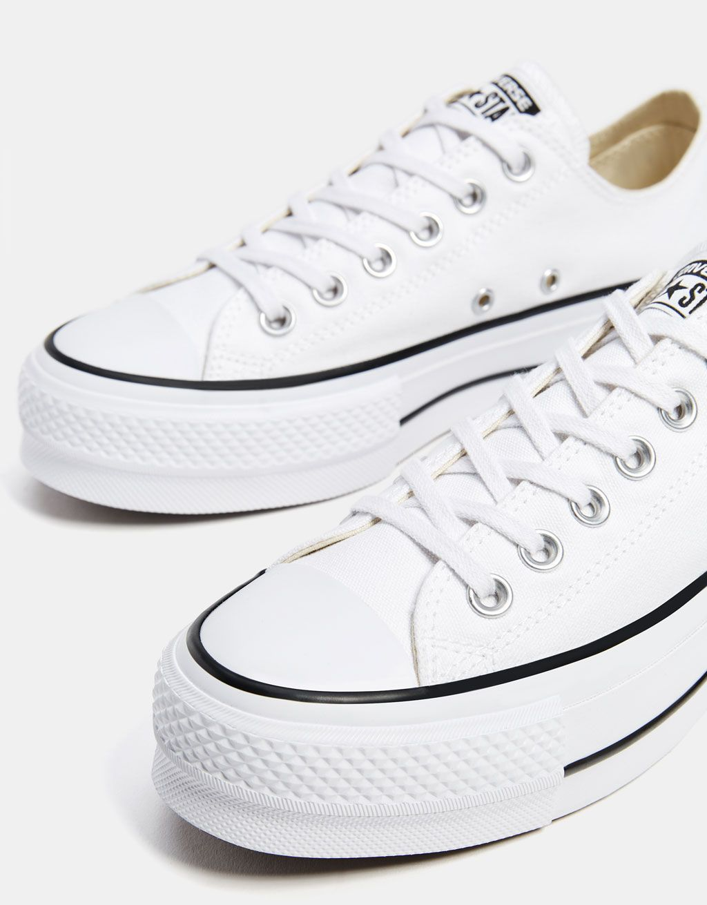 b874c05466c CONVERSE CHUCK TAYLOR ALL STAR platform sneakers - Bershka  fashion   product  converse  allstar  sneakers  trainers  white  canvas  zapatillas   lona ...