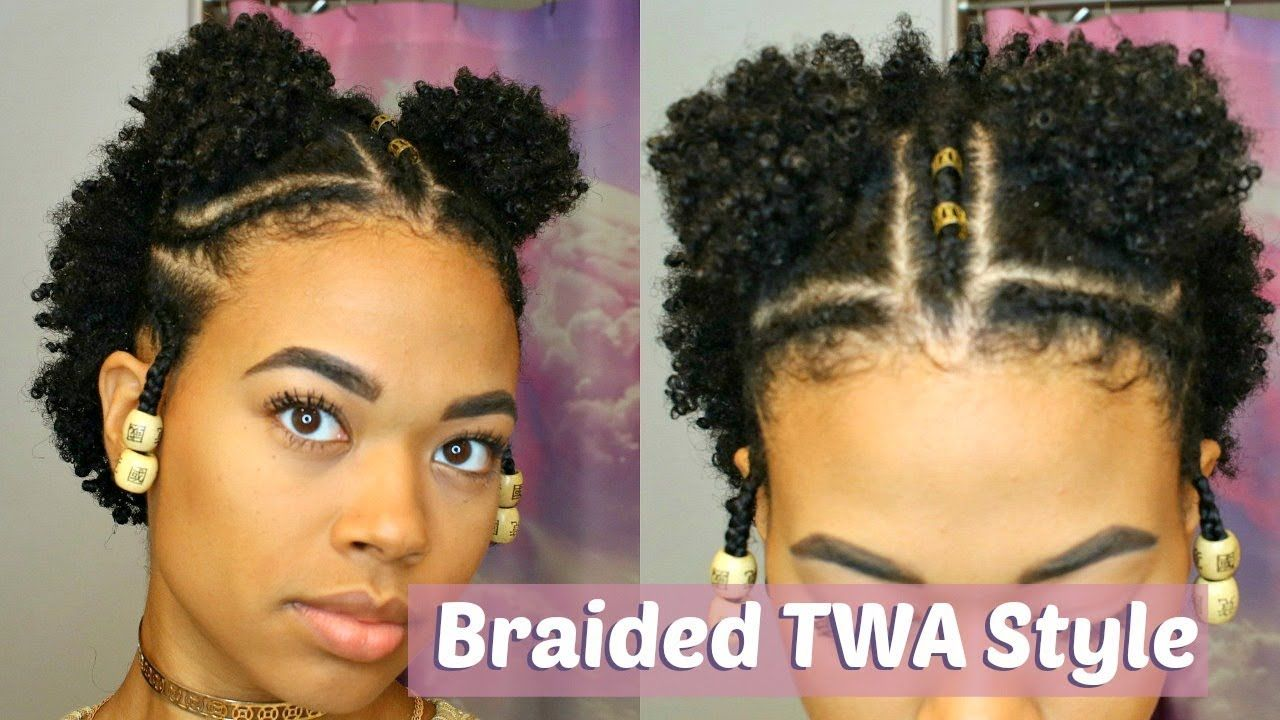 Double Puff Braided Twa Style Type 4 Natural Hair Short Natural Hair Styles Natural Hair Styles Easy Natural Hair Styles