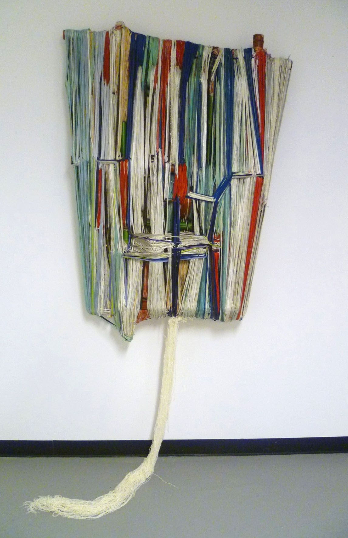 Marroquin Ruben Contemporary Art-wrapped sculpture with various dyed yarn
