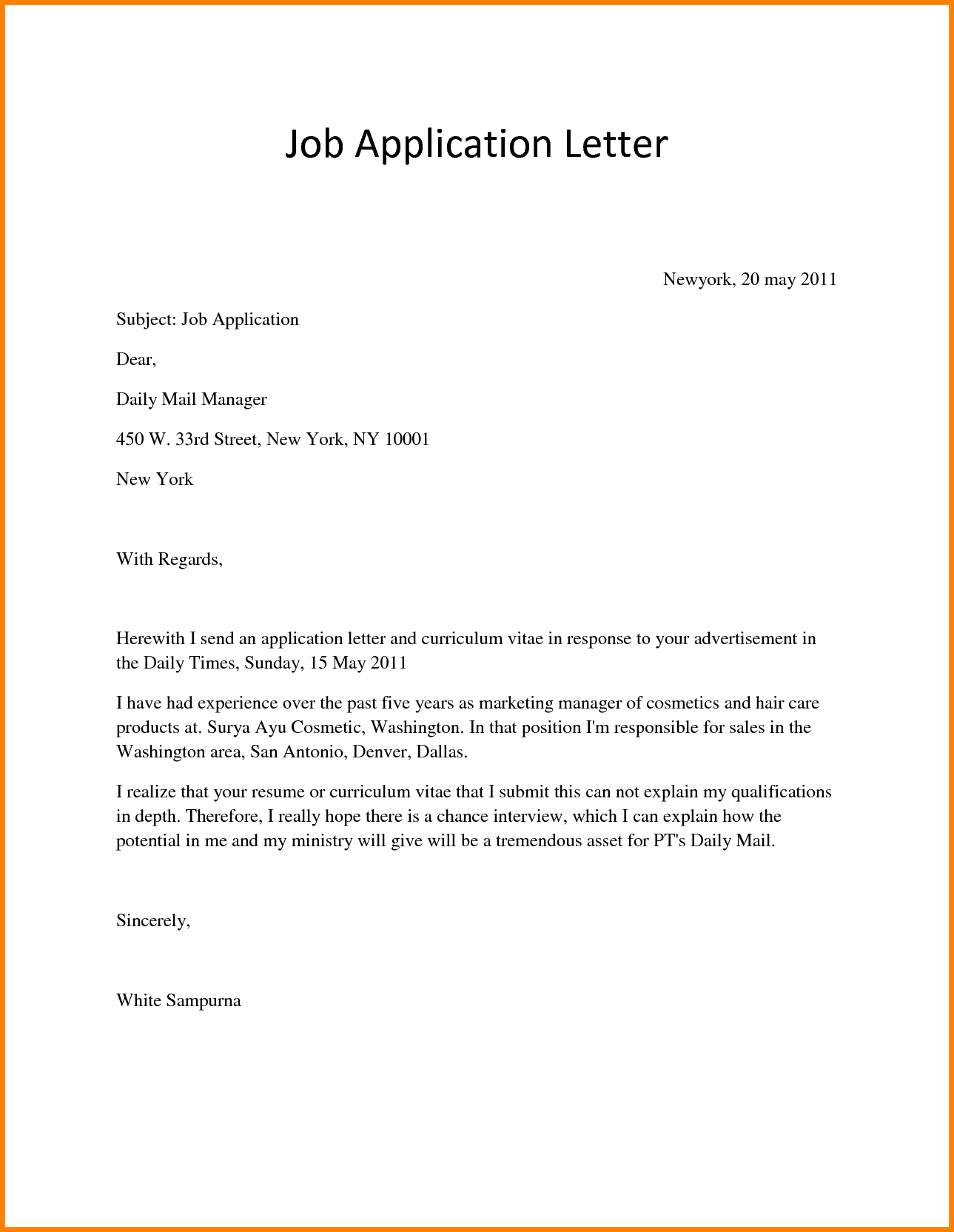 10  application letter for any position