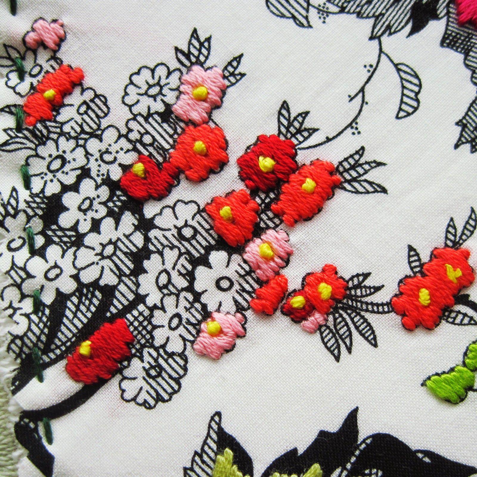 Fun embroidery idea use printed fabric as a base