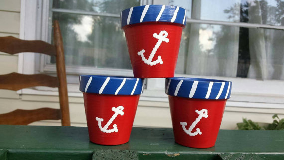 Hand painted Red/White/Blue Anchor design by CarolinaStyleDecor