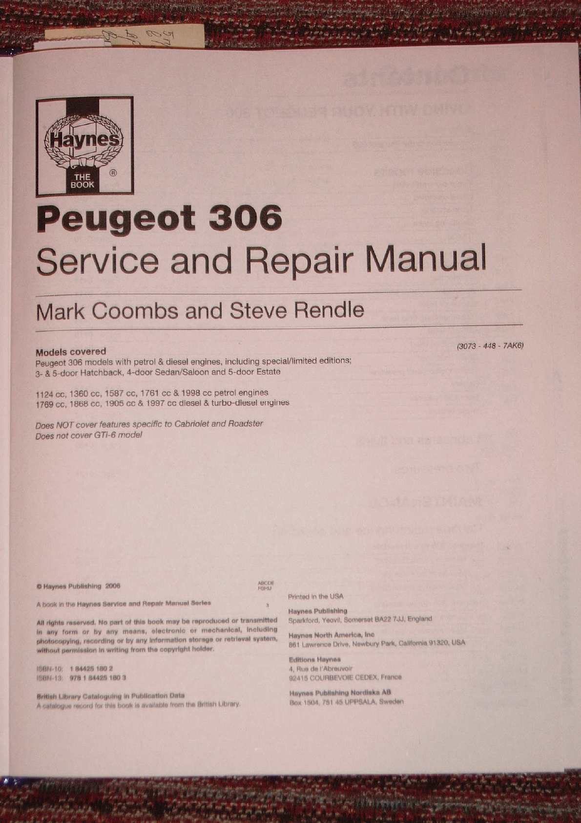 Peugeot 306 Workshop Manual Haynes Pdf Manual Car Car Workshop Manual