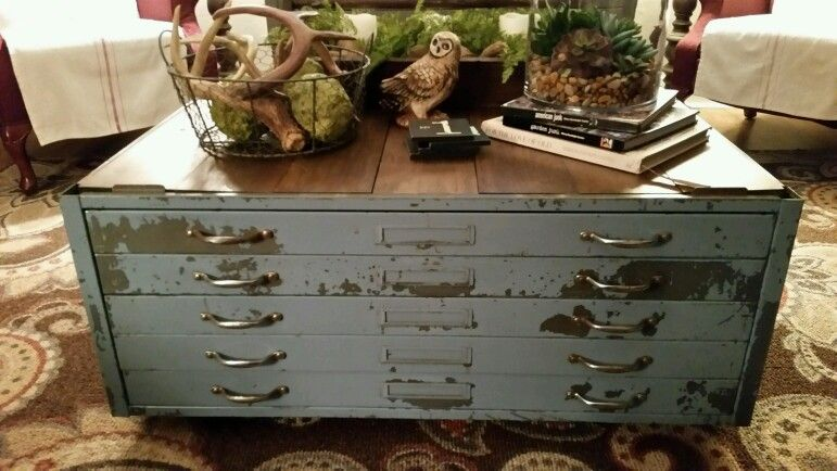 My blueprint cabinet made into coffee table furniture pinterest my blueprint cabinet made into coffee table malvernweather Image collections