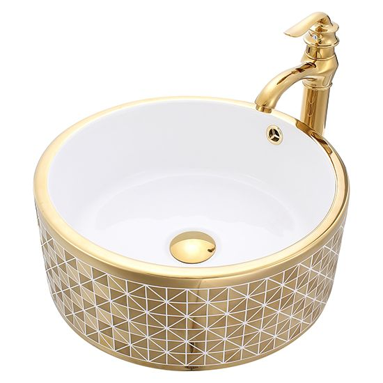 Ceramic Vessel Sink Gold With White Color Feeling Bling Bling Elegant Glass Vessel Sinks Sink Vessel Sink