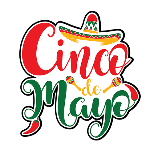 Colorful Red, Yellow And Green Text Graphics Cinco De Mayo
