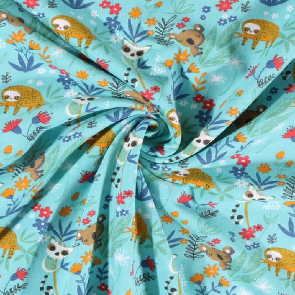 Tissu Jersey coton Bio envers molletonné Paresseux et koala fleuris sur fond Bleu turquoise - Par 10 cm