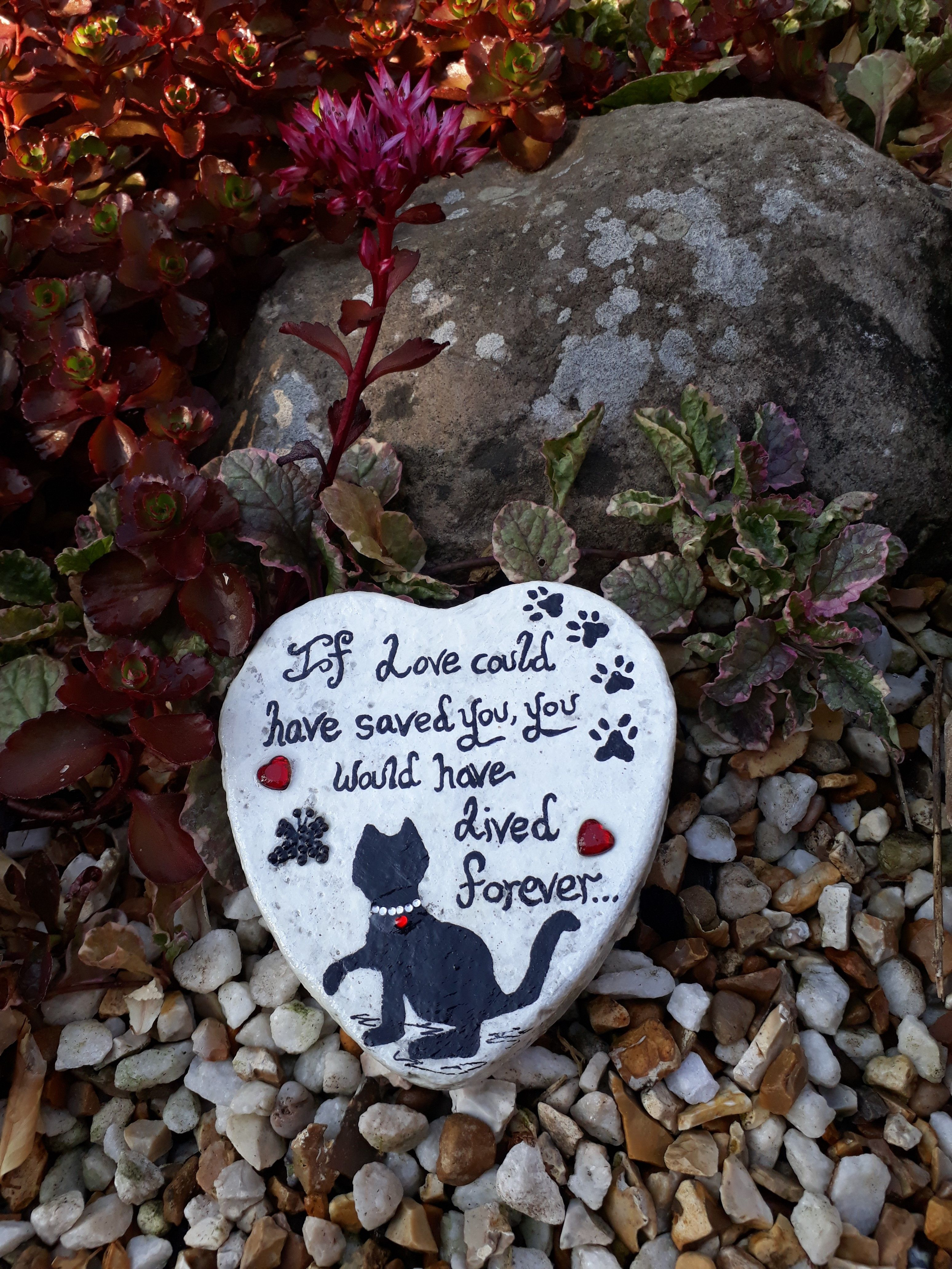 Cat memorial stone heart shape memorial stone for loss of