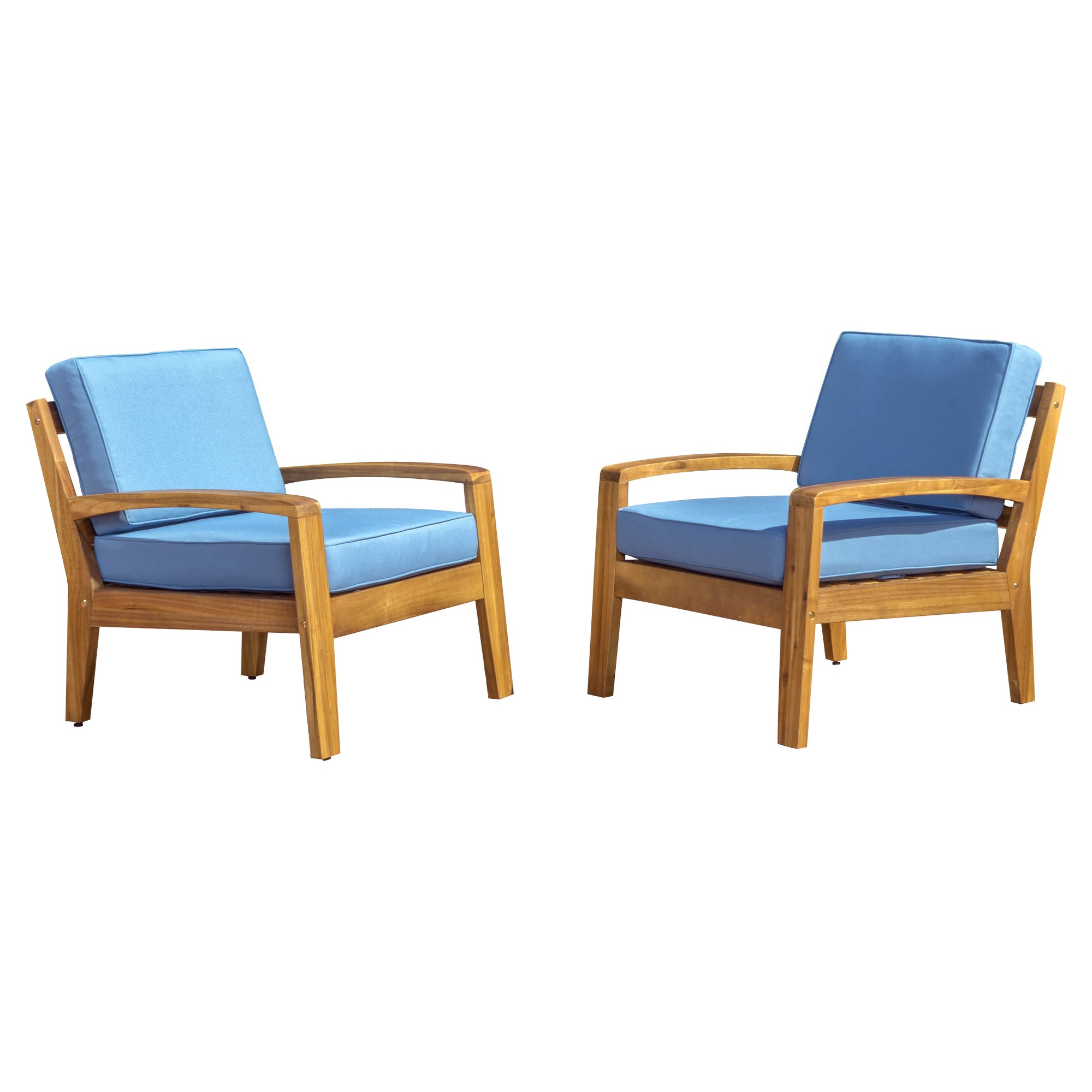 Grenada Set of 2 Wooden Club Chairs With Cushions - Blue ...