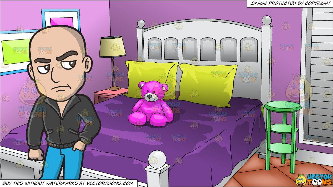 A Doubtful Looking Skinhead and Young Girls Bedroom Background is part of Young Girls bedroom - A bald man wearing a black jacket, blue jeans and brown boots, frown while placing his left hand inside his pocket  Interior of a bedroom with lilac colored walls, a white bed frame and dark purple bedspread and yellow pillows on the bed  A pink teddy bear is sitting on the bed and there is a small green side table next to the bed