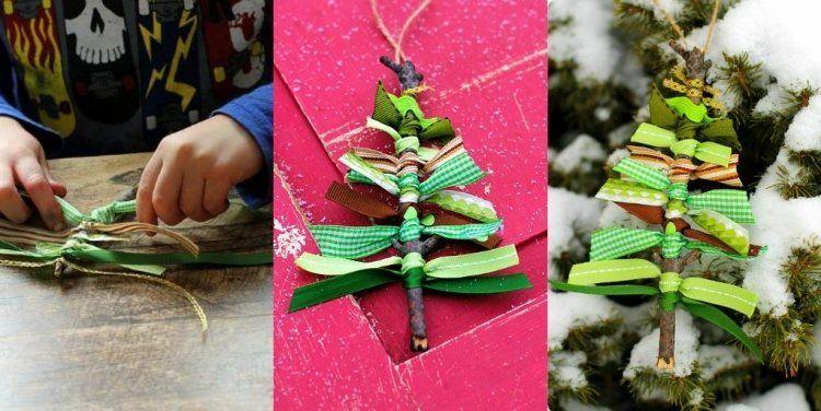 Déco Noël à fabriquer – 45 belles idées de décoration de Noël fait maison #chutedetissu de petits ornements pour sapin de Noël - des mini sapins en chutes de tissu vertes et brindilles #decodenoelfaitmaison