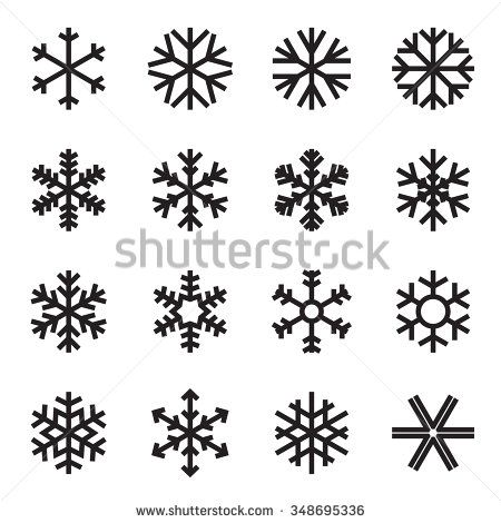 Simple Snowflake Icons Symbols Winter Frost Stock