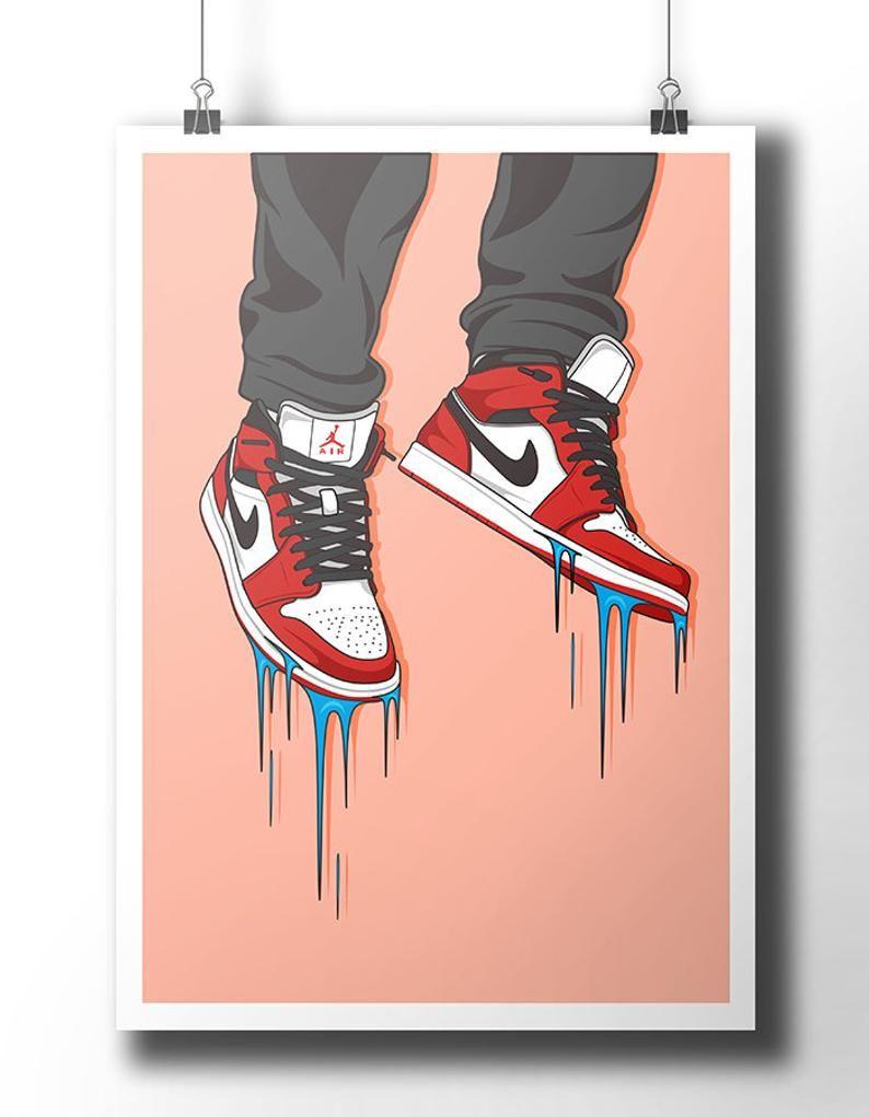 Nike Air Jordan Sneaker Poster Wall Art Nike Trainer Etsy Cartoon Art Nike Art Poster Wall Art
