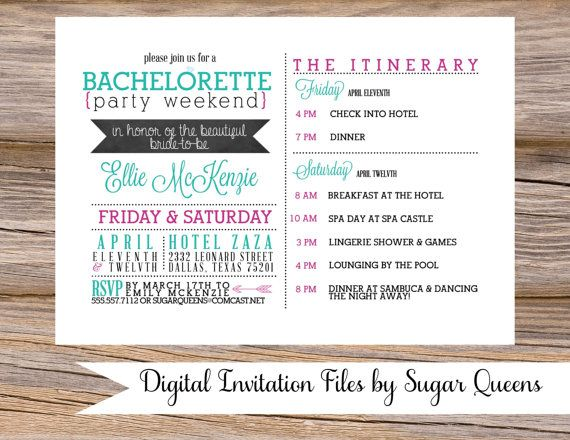 Bachelorette Party Weekend Wedding Invitation Diy Printable Fun Unique S Night Out Hens Itinerary Plans Details A Final Toast On Etsy 18 00