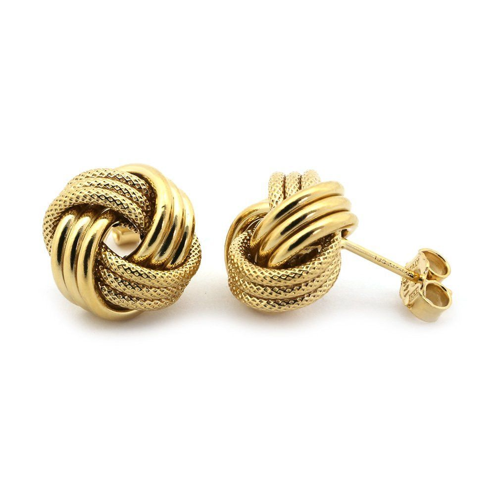 14k Yellow Gold Large Textured Love Knot Earrings