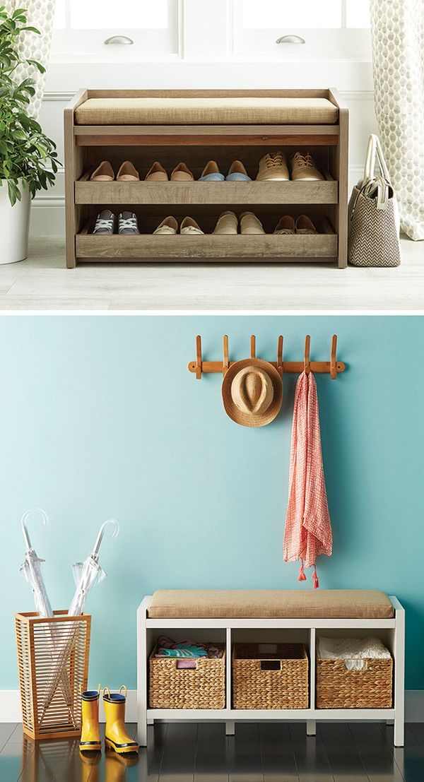 Rustic Driftwood Mercer Entryway Storage Bench Entryway Bench