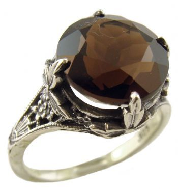 Antique Style Sterling Silver Filigree 11.0mm Round Cabochon Ring Setting