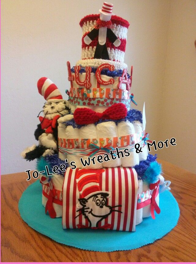 Cat In The Hat Diaper Cake I Made Storybook Baby Shower Baby
