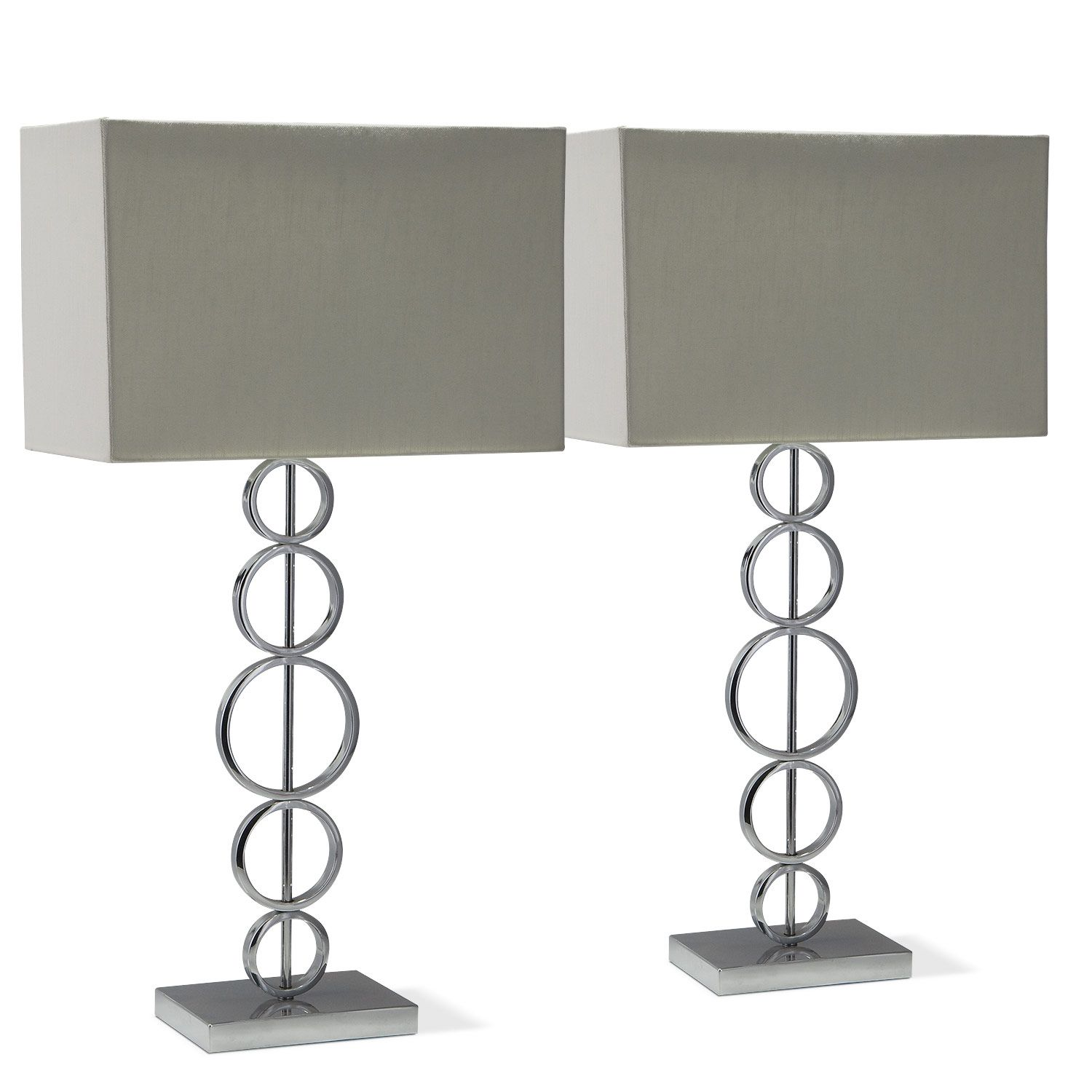 Chrome Circle 2 Pack Table Lamps   Value City Furniture