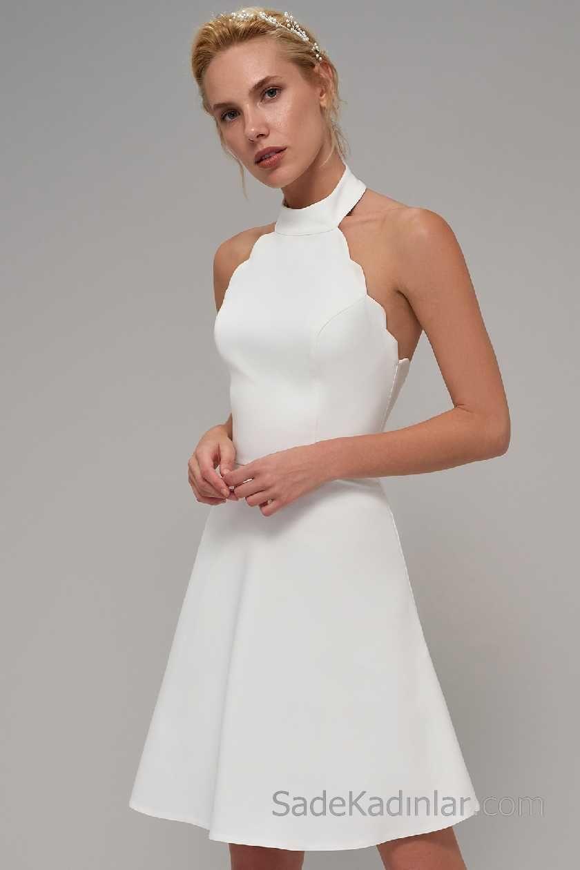 2018 Beyaz Elbise Modelleri Halter Yaka Zigzag Kol Detayli Elbise Modelleri Elbise The Dress