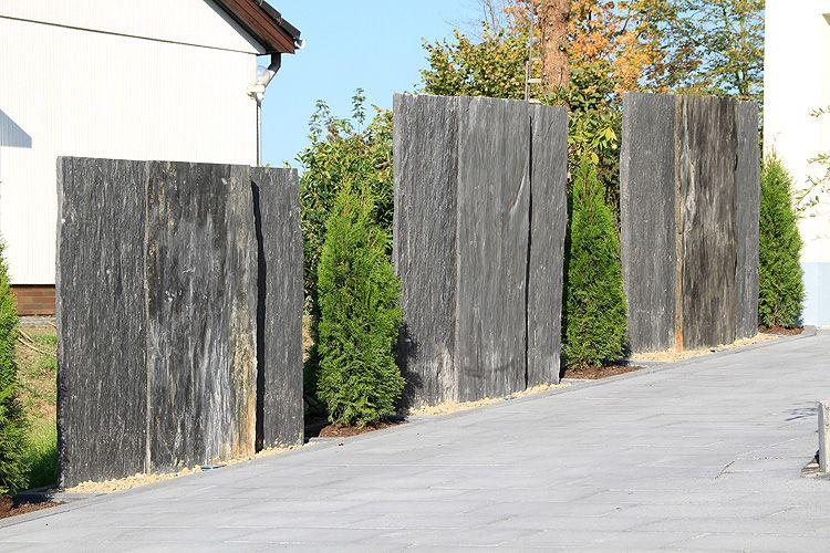 Haie, clôture de jardin en ardoise paillis contemporain | KruïL ...