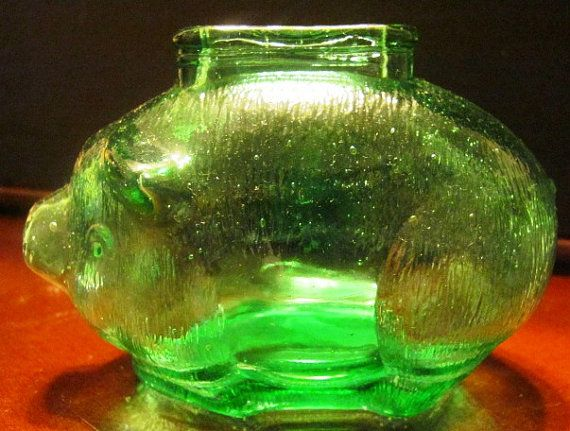Vintage Rich Green Piggy Bank by shapadream on Etsy, $25.00