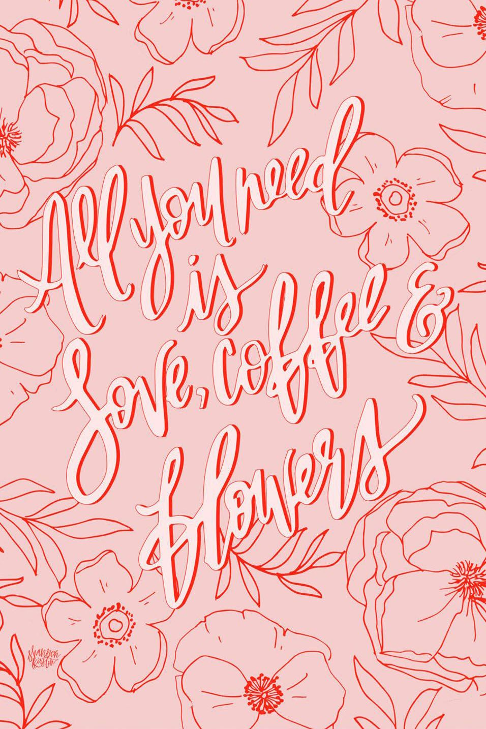 Artwork for the coffee and flower lover. Perfect for a home office, kitchen, or dorm room. This illustrated artwork can go just about anywhere in your home for a pop of color with a sweet message.