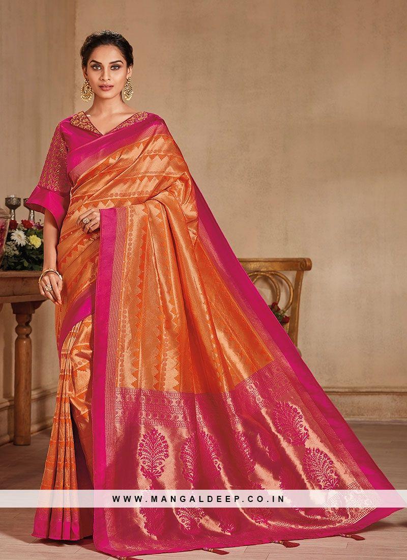 8169ce3c61 Delightful Orange Color Festive Wear Fancy Banarasi Silk Saree #orange  #silk #saree