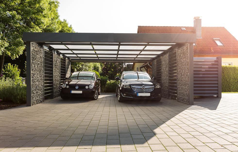 Doppelcarport Mit Seitlicher Mulltonneneinhausung Aus Blechlamellen Von Steelmanufaktur Beyer Modern Metall Outdoor Decor Outdoor Structures Home
