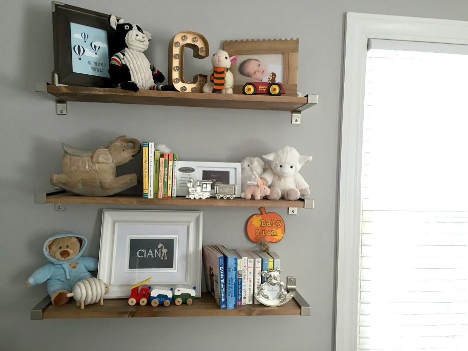 Transitional Gray Mint And Navy Baby Boy Nursery Nursery Shelves Nursery Shelf Decor Baby Shelves