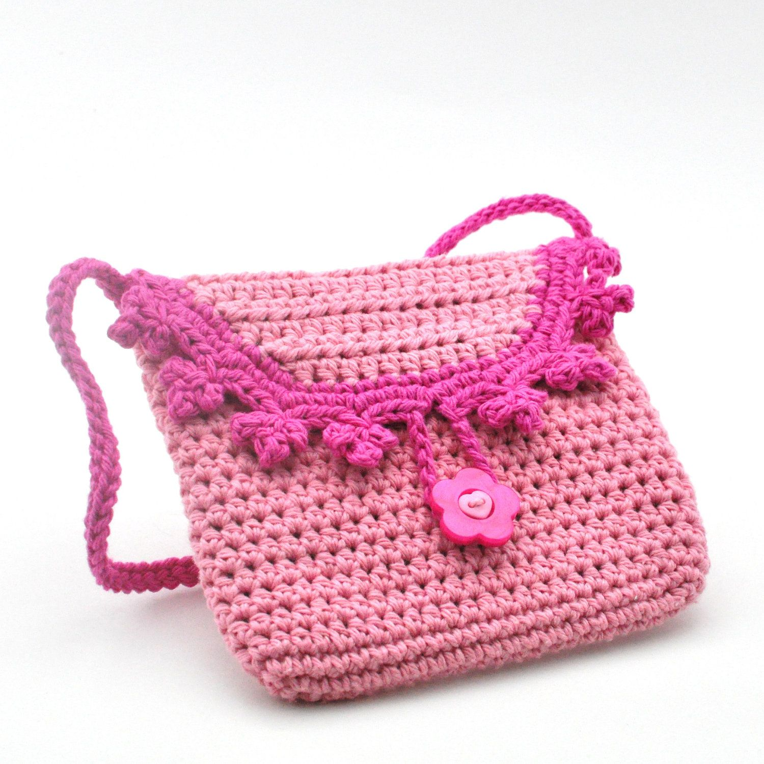 Girls Purse - Pink on Pink - Crochet Fashion Bag for Little ...