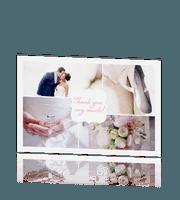 Chique bedankkaartje met foto en label