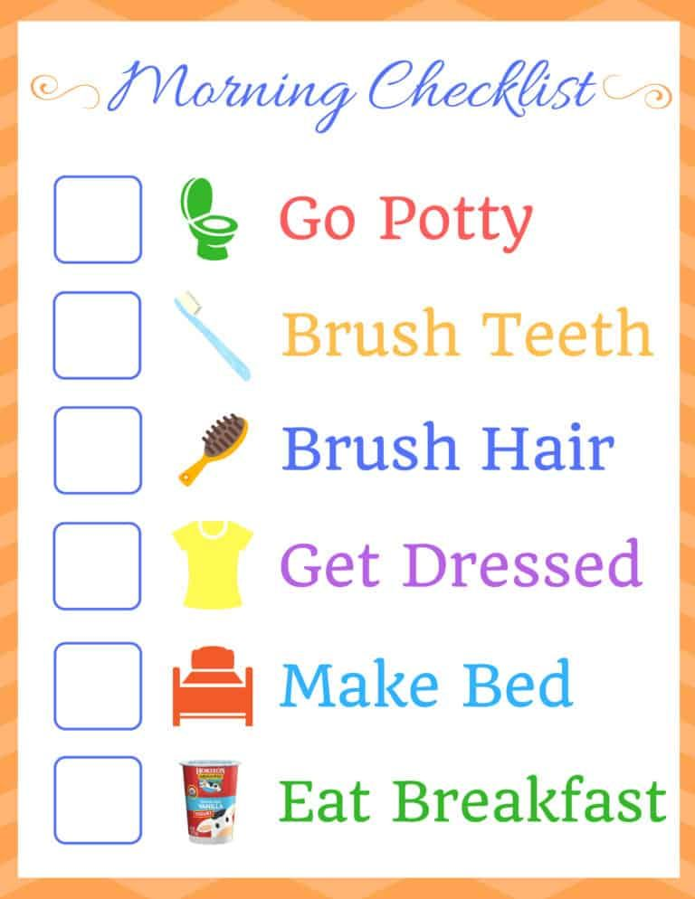 Kids Morning Routine Checklist #morningroutine