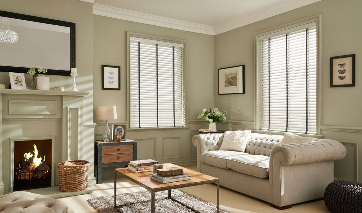 White Wooden Venetian Blinds With Grey Tape Living Room