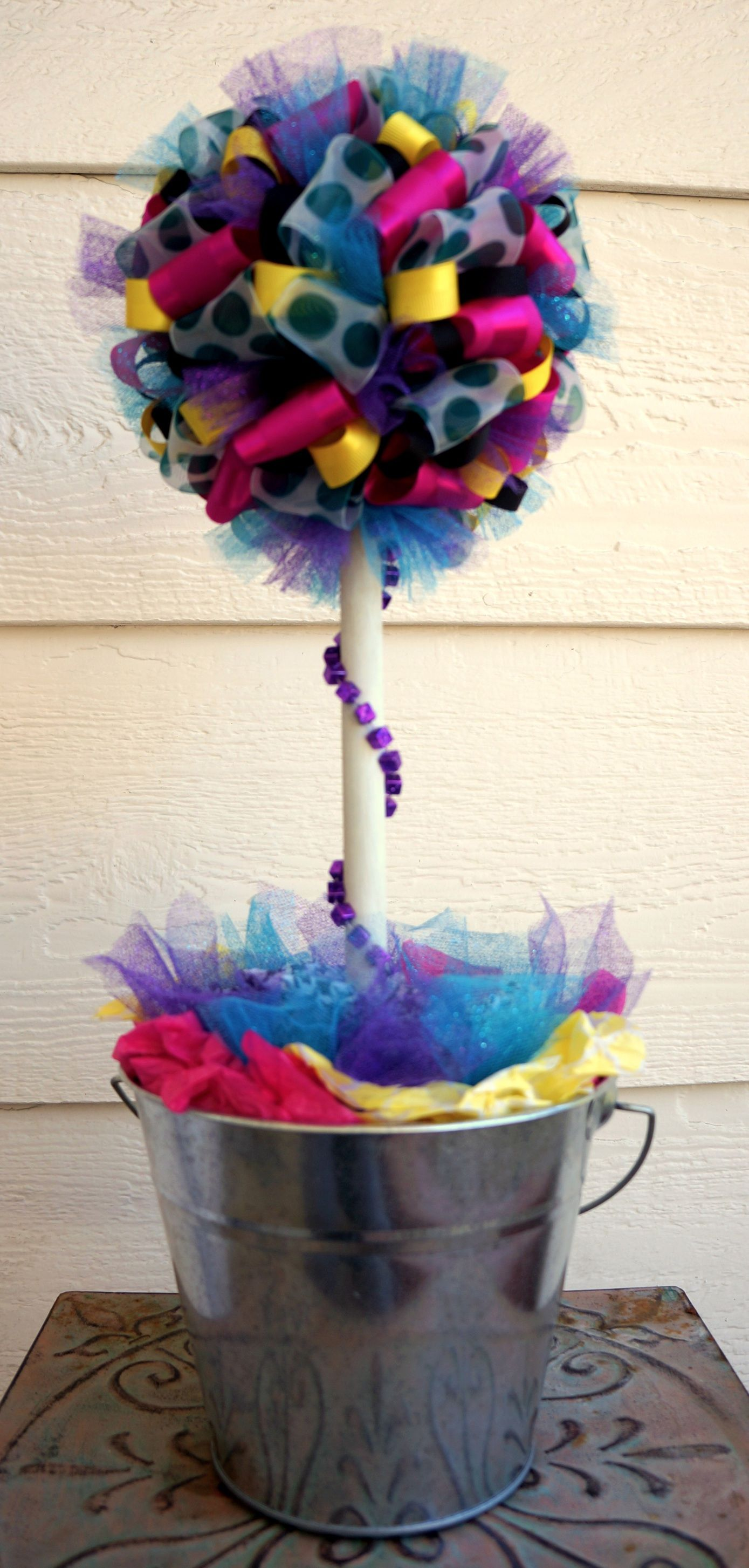 Ribbon and tulle topiary tree