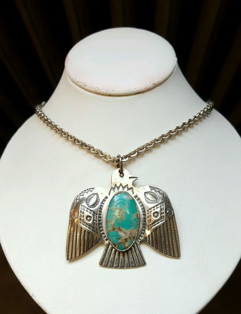 Sterling turquoise thunderbird necklace