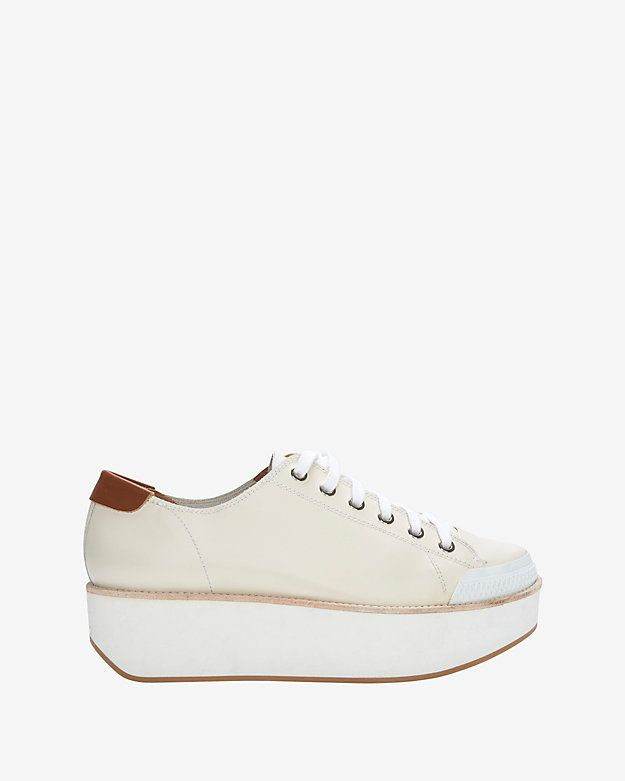 cc2bcc8f648 Flamingos Lace-Up Platform Sneaker: White: A 1 1/2 platform elevates the  height of style on these lace-up styled leather sneakers. Rubber sole. In ..