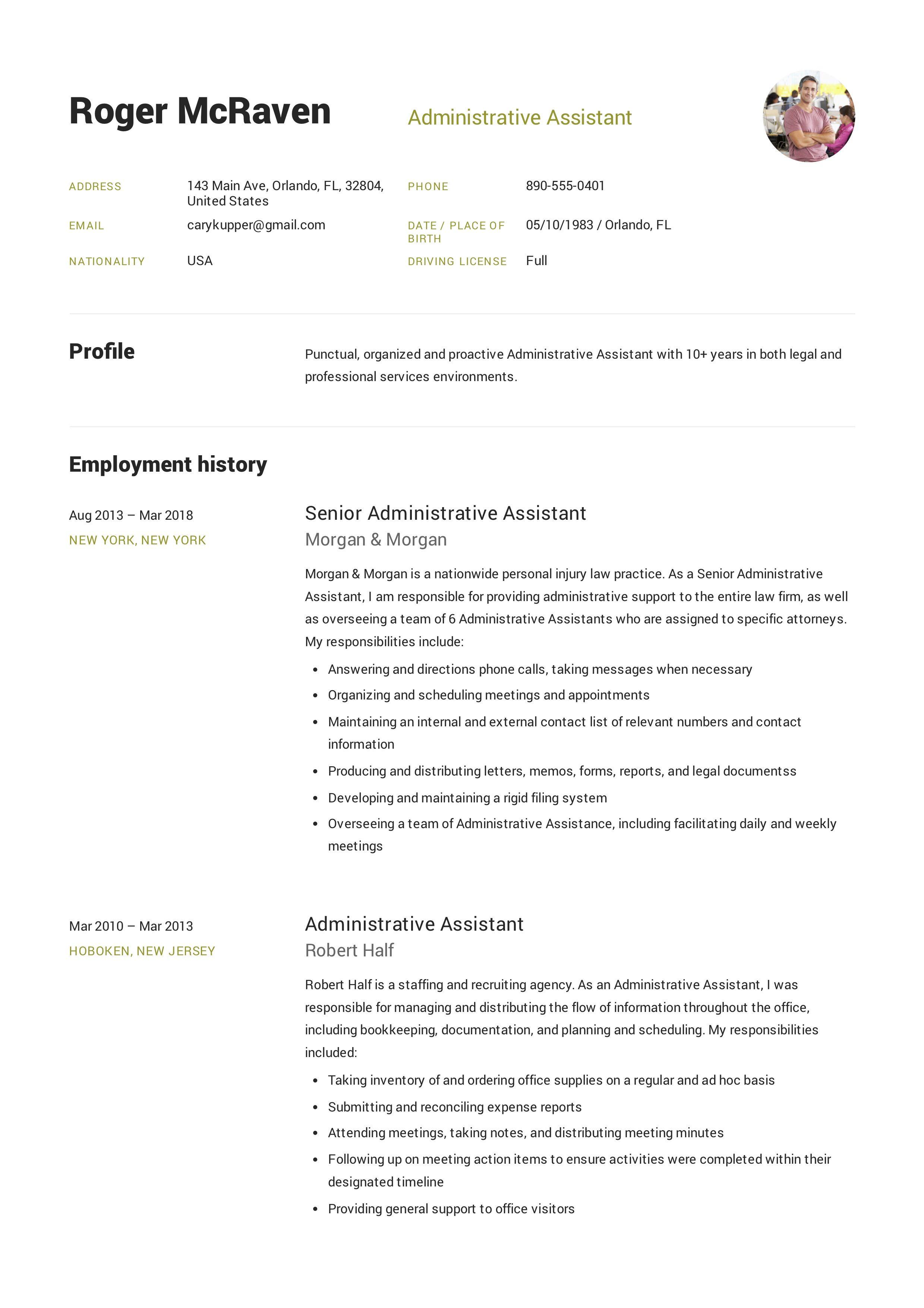 Free Administrative Assistant Resume Sample Template Example Administrative Assistant Resume Executive Assistant Job Description Reading Lesson Plan Template