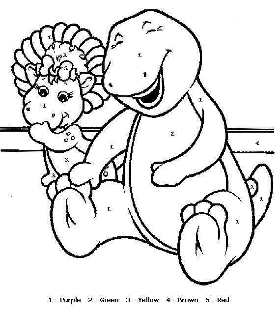 Barney Coloring Sheets to Printable when you follow the number
