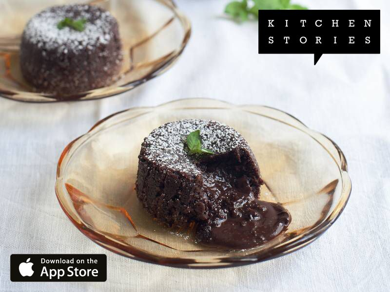 Molten chocolate cake from Kitchen Stories. It's really delicious! Get the recipe now: https://kitchenstories.io/recipe/molten-chocolate-cake