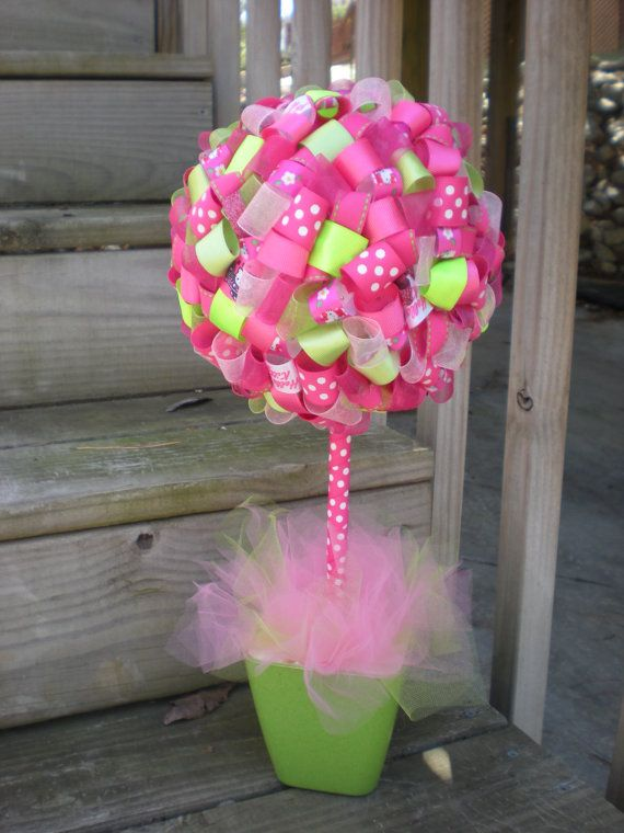 Ribbon Topiary In Hot Pink & Lime Green By