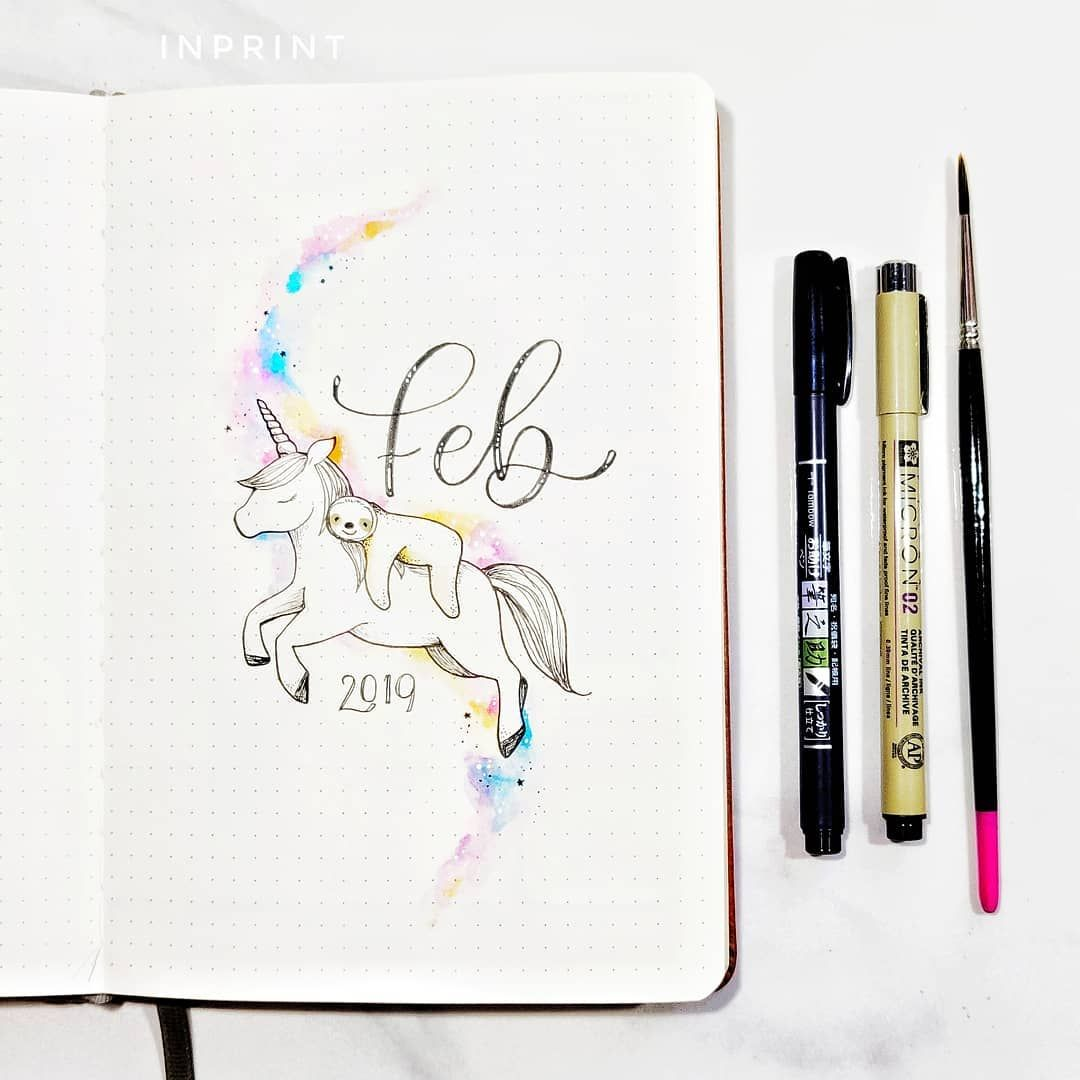 My February Theme Is Unicorn Sloth Or Slothicorn What S Yours Unicorn Sloths Hellofebruary Bullet Journal Calendar Pages Bullet Journal Layout