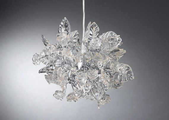 Clear Pendant Light Ceiling Light With Crystal Clear Flowers And