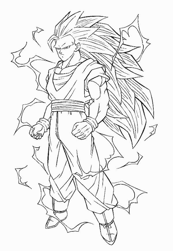 Goku Super Saiyan 3 Form In Dragon Ball Z Coloring Page Kids Play Color Dragon Coloring Page Super Coloring Pages Cartoon Coloring Pages