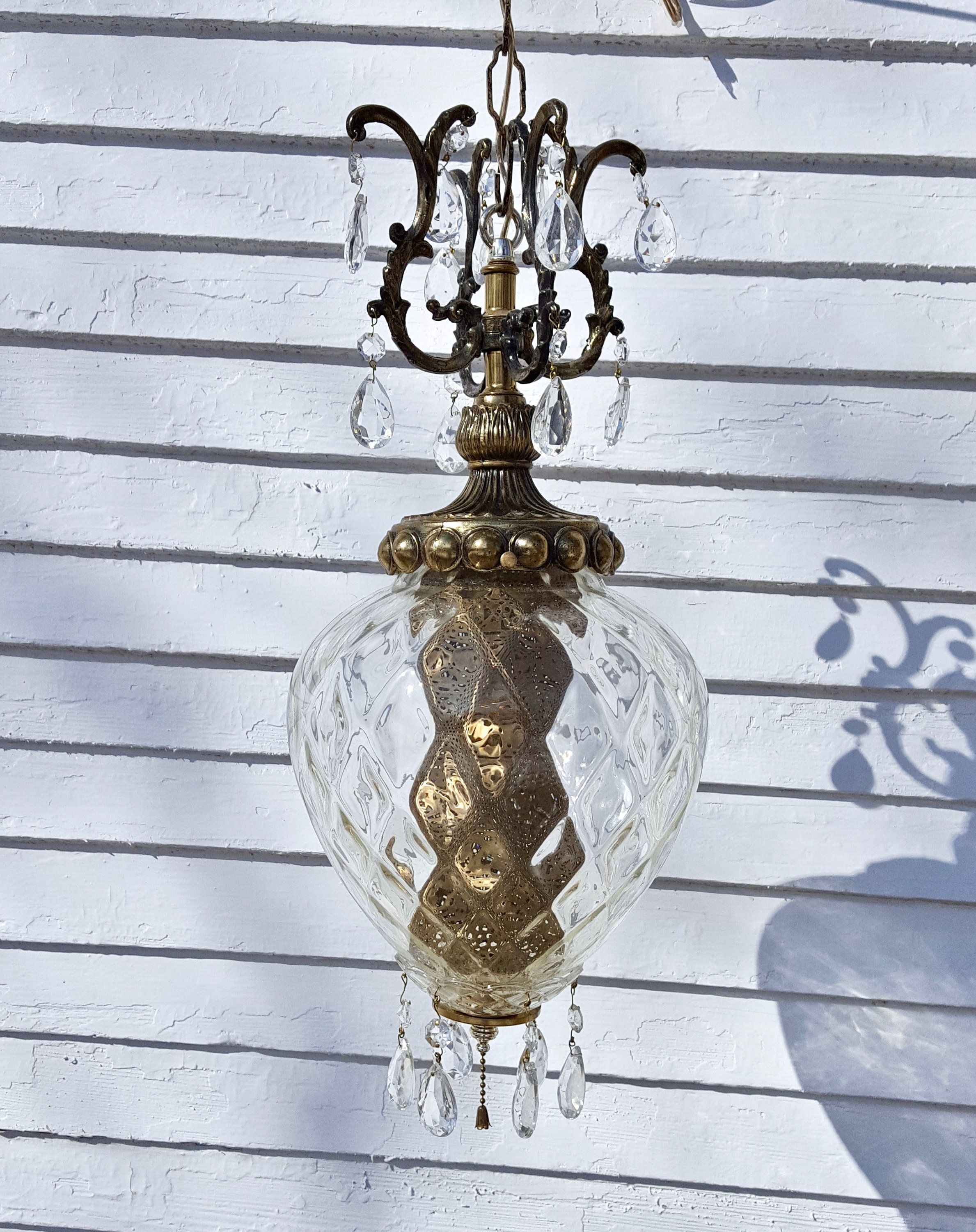 Vintage Hanging Lamp With Crystals Or Swag Lamp Pull Chain Or Ceiling Light Fixture Swag Lamp Vintage Light Fixtures Hanging Lamp