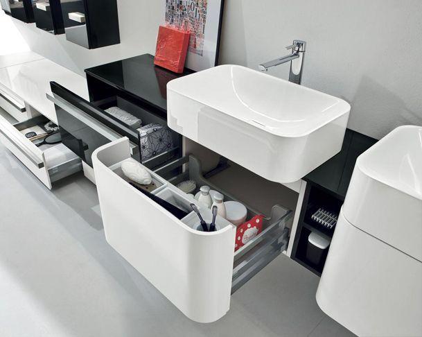 Contemporaneo mobili ~ Bagno lavabi curvi in mineralmarmo contenitori estraibili mobili