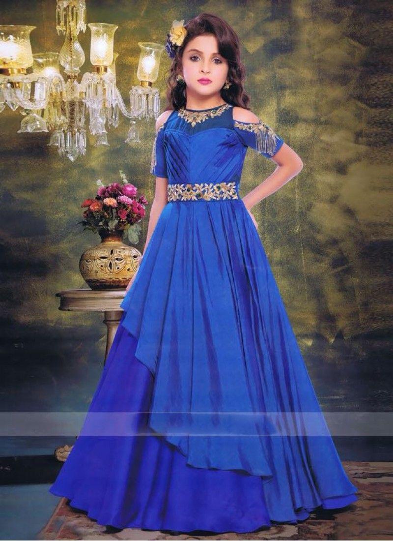 770c424ca0 Blue girls designer gown in 2019