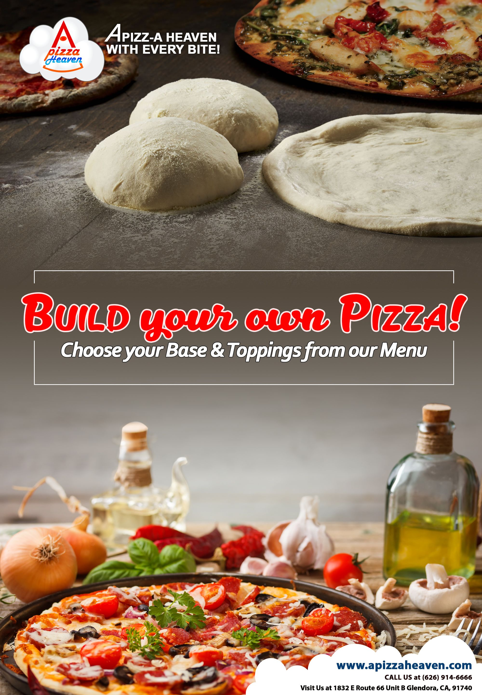 build your own pizza! check our menu at: apizzaheaven and order