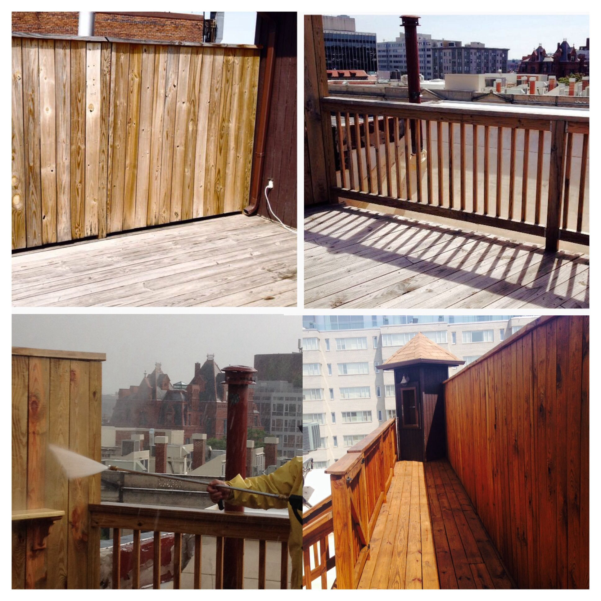 Before and after power washing and staining exterior